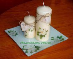 Conjunto de plato y velas con decoupage