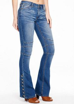 Spoon Side-Button Flare Jean - Jeans - Sale - Alloy Apparel