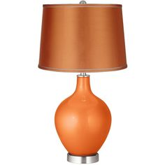 Color Plus Burnt Orange Metallic - Satin Orange Shade Ovo Table Lamp ($140) ❤ liked on Polyvore featuring home, lighting, table lamps, orange, drum shade lighting, orange lamp, orange table lamp, orange lighting and drum shade