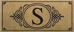 Evergreen Sassafras Switch Mat  Burlap Monogram S 431021S NEW