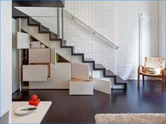 Smart space: Small room decor ideas for when you're short on space. If you're living in a house with stairs, then you've got the perfect spot for storage that is handy and out of the way. Image courtesy of Under stair storage from The Right At Home Small Room Decor, Small Rooms, Tiny Living, Living Spaces, Estilo Interior, Escalier Design, Small House Decorating, Decorating Ideas, Decor Ideas