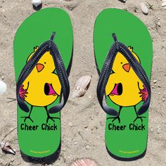 Cheer Chick on Green Flip Flops - Kick back after a performance with these great flip flops! Fun and functional flip flops for all cheerleaders and fans.