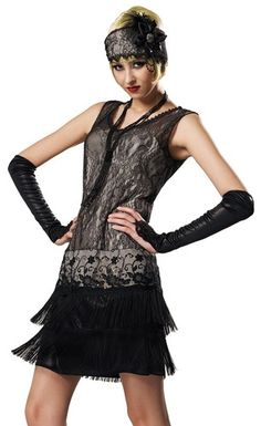 Sexy Gothic Black Lace Flapper Adult Halloween Fancy Dress Costume | eBay