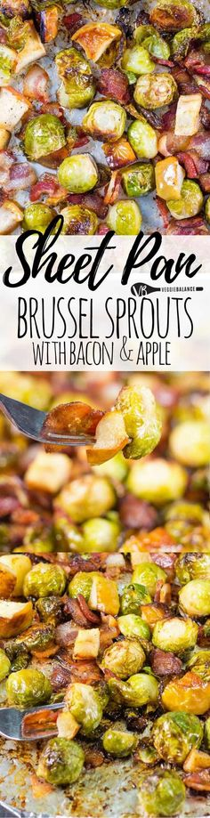 roasted brussel sprouts with bacon, apples recipe brings the best of savory sweet salty goodness home with your veggies. don't settle for boring brussel sprouts. (gluten-free, dairy-free, nut-free, low-carb) #glutenfree #dairyfree #lowcarb #recipe
