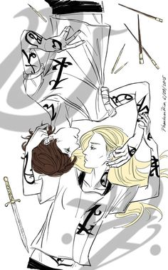 """phantomrin:  Emma and Julian (""""the Dark Artifices"""" by Cassandra Clare)   I adore this! Thank you to the person who recommended this fan artist to me."""
