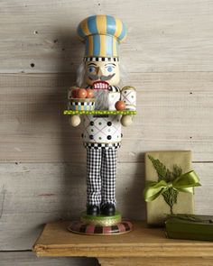 It would be fun to make a nutcracker for everyone in the family that reflects their favorite things to do (Piccadilly Chef Nutcracker by MacKenzie-Childs at Neiman Marcus.)