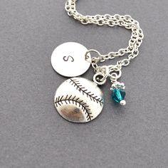 Softball / Baseball Necklace, Birthstone Initial Necklace, Monogram, Softball charm, Baseball charm, Sports Jewelry, personalized jewelry