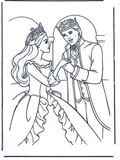 Coloring Wedding Pages On Princess Cinderella Color Printable And Pri Barbie Prince