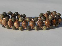 Earthy agate diagonal stich bracelet by SunshinesPush on Etsy, $25.00