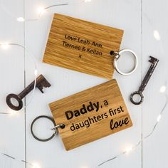 Personalised Daddy, A Daughter's First Love Keyring |Personalised Keyring|Daddy Keyring|Wooden Keyring|Keyring Personalised|Dad to Be|Daddy by BespokeandOakCo on Etsy