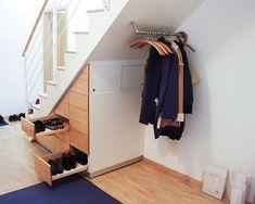 carpet-blue dark stair-white-and-wood-parquet-of-wood-furniture-shoe-under-stair-walls-white by lilliecrapaud Under Staircase Ideas, Under Stairs Nook, Closet Under Stairs, Under Stairs Cupboard, Staircase Storage, Staircase Makeover, Staircase Design, Hall Furniture, Home Decor Furniture