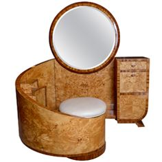 Rare Art Deco vanity table in bird's eye maple with embedded stool and bevelled mirror, attributed to Saddier, France piece of furniture!