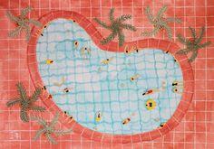 Original Watercolor painting - 'kidney shaped pool'