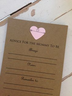 """Quantity: 12 cards for $9.99 Color of heart: choice of magenta, light pink, blue, sea foam green, purple.  Size: each card is 4.25 x 5.5""""  Customize options: please note in message to sender whether you prefer the event date of name of the mommy to be OR baby."""