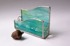 Stained glass business card holder  aqua glass by AcornArtsStudio, $18.00
