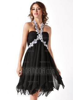 Little Black Dresses - $147.99 - Empire Halter Knee-Length Chiffon Homecoming Dress With Ruffle Beading Appliques (022010554) http://hochzeitstore.com/Empire-Halter-Knee-length-Chiffon-Homecoming-Dress-With-Ruffle-Beading-Appliques-022010554-g10554