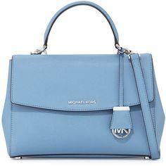 MICHAEL Michael Kors Ava Medium Saffiano Leather Satchel Bag ($320) ❤ liked on Polyvore featuring bags, handbags, sky, zipper purse, flap handbags, michael michael kors handbags, handbag satchel and monogrammed purses