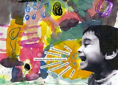 Mixed Media Self Portrait. These were awesome.  Little kids did the backgrounds, came up with words that described them and added it on top on canvas boards.  Big wow factor for the parents.    What an awesome idea!!