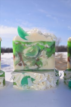 Coconut Lime Verbena. Cold process and melt and pour soaps combined. Lakehurst Farms