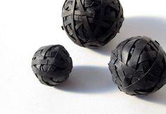 Decorative, recycled bike innertube rubber balls
