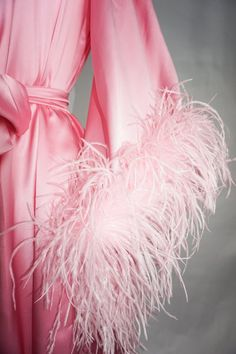 Hollywood Royalty Silk /Satin and Ostrich Feather Robe / Valentine's Day Gift , bridal robe , birthday gift , anniversary gift Wedding Night Lingerie, Bridal Lingerie, Pink Wardrobe, Mode Rose, Pink Lemon, Bridesmaid Inspiration, Bridal Robes, Everything Pink, Pink Eyes