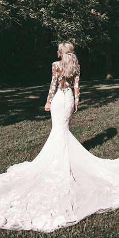 Wedding Gown wedding gown styles mermaid with long sleeves illusion back floral pronovias - Wedding dress shopping can be a bit intimidating. Here is a helpful guide to familiarize yourself with the different wedding gown styles that are available. Wedding Dress Black, Lace Wedding Dress With Sleeves, Wedding Dresses 2018, Long Sleeve Wedding, Elegant Wedding Dress, Wedding Dress Styles, Dress Lace, Lace Sleeves, Bridal Dresses