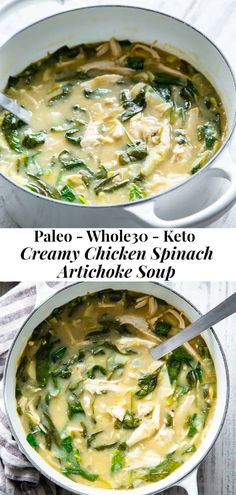 This chicken spinach artichoke soup is packed with veggies, flavor, protein and healthy fats. It comes together quickly and the leftovers are delicious too! Great for weeknight dinners and meal prep, this creamy, comforting paleo soup is dairy free, Whole30 compliant and keto friendly too. #cleaneating #paleo #lowcarb #whole30 Artichoke Soup, Artichoke Chicken, Artichoke Recipes, Whole30 Soup Recipes, Paleo Soup, Dinner Recipes, Potato Bacon Soup, Creamy Potato Soup, Spinach Soup