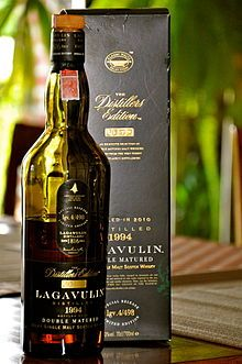 In 1816, the Lagavulin whisky distillery was founded by John Johnston. Surrounded by dark peat bog and drawing its water from the Solan Lochs, Lagavulin sits at the head of a bay and not far from the ruins of Dunyvaig castle. The single malt whiskies from Lagavulin are amongt the world's smokiest with thick lapsang souchon enveloping the palate without remorse.