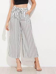 Pantalon 3/4 taille haute avec ceinture et rayures - blanc-French Romwe