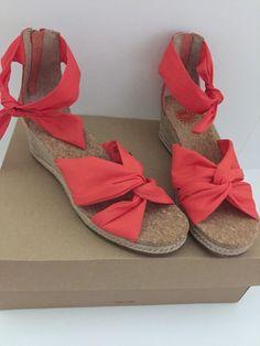 Ugg Australia Starla Sandal Orange Ankle Strap Espadrille Wedge Size 7.5 NEW #UGGAustralia #PlatformsWedges
