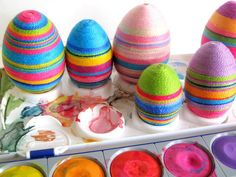 wool decoration for easter eggs