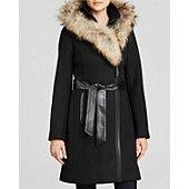 Mackage Belted Wool Coat with Fur Trim Hood