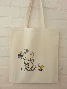 Snoopy and Woodstock Dancing Natural Cotton Tote Bag by BYKI