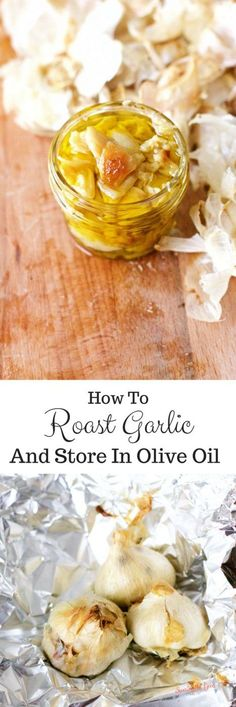 How To Roast Garlic And Store In Olive Oil I love garlic and more specifically roasted garlic. There is something about the delicious caramel cloves of garlic that bring my mouth happiness. I have been known to eat an entire bulb yes a bulb of garlic Delicious Dinner Recipes, Great Recipes, Favorite Recipes, Healthy Recipes, Vegetarian Recipes, Chutneys, Kombucha, Kefir, Roasted Garlic Cloves