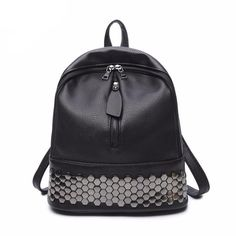Cheap leather women backpack, Buy Quality women backpack directly from China style backpack Suppliers: mochilas mujer 2017 kanken PU Leather Women Backpack bolsas feminina Preppy Style School Backpack Black Mater Rivet Women Bag Backpack Bags, Fashion Backpack, Black Backpack School, Estilo Preppy, Moda Formal, Stylish Backpacks, School Backpacks, Women's Backpacks, Leather Backpacks