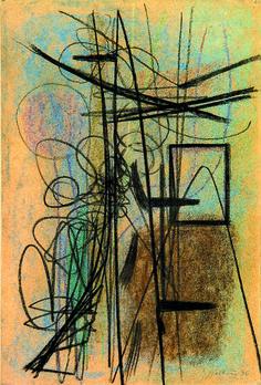 Hans Hartung (1904 - 1989), Composition, 1946. This is the preliminary work for T1946-16, an oil on canvas of 1946 from the Musée d'Art Moderne de la Ville de Paris. Collection Galerie Applicat-Prazan at Salon du dessin 2015.