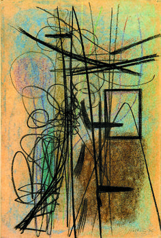 Hans Hartung (1904 - 1989), Composition, 1946. This is the preliminary work for T1946-16, an oil on canvas of 1946 from the Musée d'Art Moderne de la Ville de Paris. Collection Galerie Applicat-Prazan at Salon du dessin 2015.