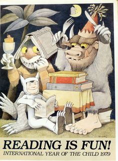 Vintage  Maurice Sendak Poster Print - Reading Is Fun -  International Year of the Child - Great for Nursery or Child's Room on Etsy, $30.00