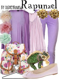 Rapunzel inspired outfit by Disney Bound Disney Princess Outfits, Disney Themed Outfits, Disney Dresses, Disney Clothes, Outfits Jeans, Cute Outfits, Movie Outfits, Cute Disney, Disney Style