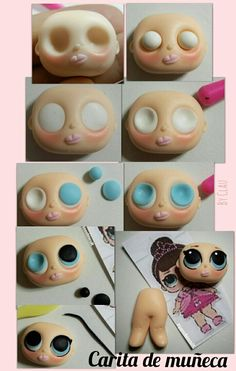 eyes - super tutorial with fimo clay. Cute Polymer Clay, Polymer Clay Dolls, Polymer Clay Projects, Polymer Clay Creations, Cake Topper Tutorial, Fondant Tutorial, Fondant People, Clay Baby, Fondant Figures