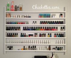 Chickettes.com Custom Nail Polish Shelf  (I think this would work for storing essential oil bottles, too)
