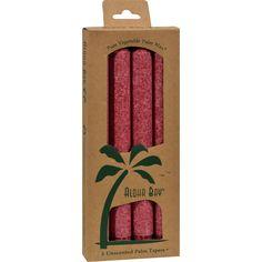 Aloha Bay Palm Tapers Burgundy - 4 Candles