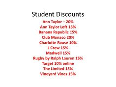 Discounts at clothings stores with student ID