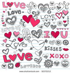 stock vector : Valentine's Day Love & Hearts Sketchy Notebook Doodles Design Elements on Lined Sketchbook Paper Background- Vector Illustration