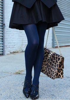Another easy way to do navy and black. Leopard seems to just make every color jump out...such a great addition to this outfit.
