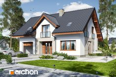 Dom w szeflerach Prefabricated Houses, Contemporary House Plans, Cottage Style Homes, Pool Houses, Traditional House, Home Fashion, My Dream Home, Bungalow, My House