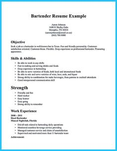 bartending resume sle pin bartender resume description on