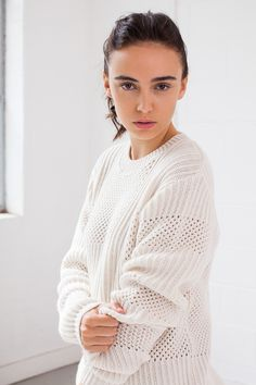 KNITWEAR: Textural Mesh and Rib stitch placement, Soar Ecru by Genevieve Sweeney