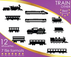 Hey, I found this really awesome Etsy listing at https://www.etsy.com/listing/516976411/12-silhouettes-train-trains-locomotive