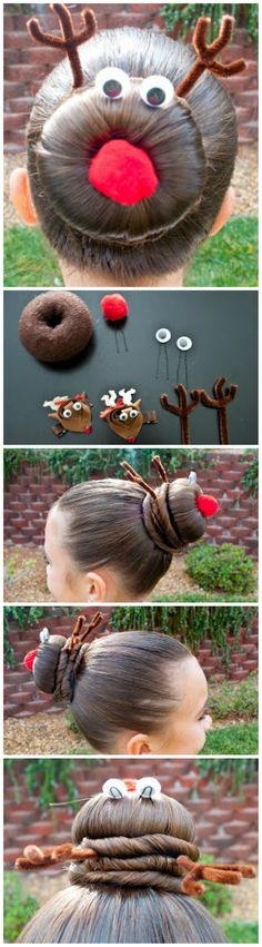 Homemade Christmas Rudolph Bun Hairstyle